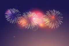 Brightly Colorful Fireworks on twilight background. For festive event royalty free illustration