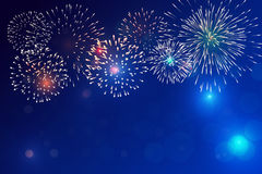 Brightly Colorful Fireworks Stock Image