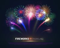 Brightly colorful fireworks on twilight background. With free space for text. Realistic fireworks explosion and shining sparks. Pyrotechnics show vector vector illustration