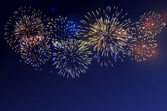Brightly Colorful Fireworks on twilight background. For celebrating all festive royalty free illustration