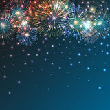Brightly Colorful Fireworks on twilight background. Festive brightly colorful fireworks bursting on blue twilight. Vector background Stock Images
