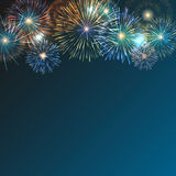 Brightly Colorful Fireworks on twilight background. Festive brightly colorful fireworks bursting on blue twilight. Vector transparent background Royalty Free Stock Photo