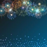 Brightly Colorful Fireworks on twilight background. Festive brightly colorful fireworks bursting on blue twilight. Vector transparent background Royalty Free Stock Image