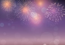 Brightly Colorful Fireworks on twilight background. To celebrate event new year, Christmas, 4th July Stock Photography