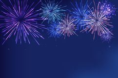 Brightly Colorful Fireworks on twilight background. Vector illustration Royalty Free Stock Image
