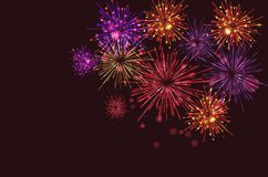 Brightly Colorful Fireworks on twilight background. Vector illustration Stock Photography