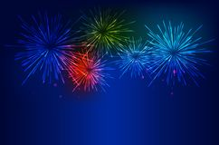 Brightly Colorful Fireworks on twilight background. Vector illustration Stock Photo