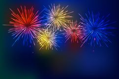 Brightly Colorful Fireworks on twilight background. Vector illustration Royalty Free Stock Images