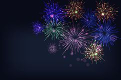 Brightly Colorful Fireworks on twilight background. Vector illustration Royalty Free Stock Photo