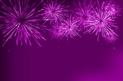Brightly Colorful Fireworks on twilight background. Vector illustration Royalty Free Stock Photos