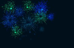 Brightly Colorful Fireworks on twilight background. Vector illustration Royalty Free Stock Photography