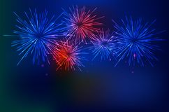 Brightly Colorful Fireworks on twilight background. Vector illustration Stock Photos