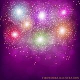 Brightly Colorful Fireworks. Vector illustration . Brightly Colorful Fireworks. Holiday fireworks background. Vector illustration of Fireworks Stock Photography
