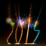 2014 brightly colorful vector fireworks and salute Royalty Free Stock Photos