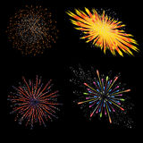 Brightly Colorful Vector Fireworks and Salute- vector  on black background.  Royalty Free Stock Photography