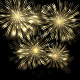Brightly Colorful Vector Fireworks and Salute vector black background eps10 Royalty Free Stock Photo