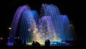 Brightly and colorfully lit fountain. In Krasnodar, Russia Stock Images