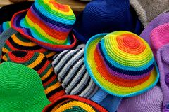 Brightly colour hats Stock Photography