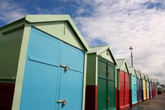 Brightly Coloured Beach Huts Royalty Free Stock Photos