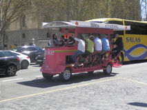 Brightly coloured bicycle taxi Stock Photography