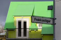 Brightly coloured building in Reykjavik Royalty Free Stock Photos