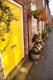 Brightly coloured door in the pretty English floral village of Croston Royalty Free Stock Photo