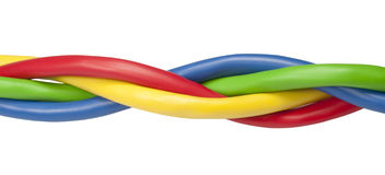 Brightly coloured ethernet network cables twisted Royalty Free Stock Images