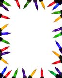 Brightly coloured festive mini lights. Border frame background of lit mini lights in bright colours Stock Image