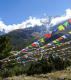 White, red, blue, yellow and green flags below a snow capped mountain stock images