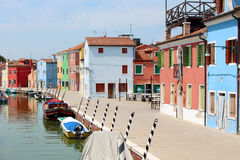 Brightly coloured houses and boats. On the island of Burano royalty free stock image