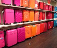 Brightly coloured luggage. Stock Photos