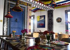 Brightly coloured moroccan styled boutique bistro. Essaouira, Morocco - September 2017: Brightly coloured moroccan styled boutique bistro Royalty Free Stock Image