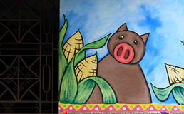 Brightly coloured mural, Ataco, El Salvador. A brightly coloured mural painted on the walls of a street in Ataco, a small town in the Ahuachapán region of El stock images