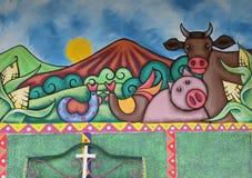 Brightly coloured mural, Ataco, El Salvador Stock Image