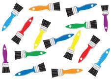Brightly coloured paintbrushes on white Royalty Free Stock Images