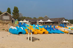 Brightly coloured pedalos Studland knoll beach Dorset England UK Royalty Free Stock Photos