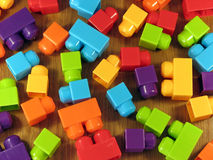 Brightly coloured plastic building blocks. Landscape photo of brightly coloured plastic building blocks royalty free stock image