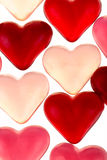Brightly coloured red gums hearts Stock Images