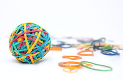 Brightly coloured Rubber band Ball Stock Images