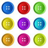 Brightly coloured Sewing Buttons. Illustration of bright colourful sewing buttons ideal for web buttons and design Royalty Free Stock Photo