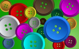 Brightly coloured Sewing Buttons. Illustration of bright colourful sewing buttons ideal for web design backgrounds etc.isolated on a green background Stock Image
