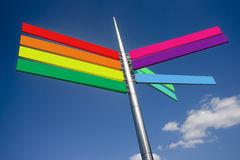 Brightly coloured sign. Outside with blue sky backdrop Royalty Free Stock Image