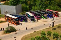 Brightly coloured tourist buses. Brightly coloured decorations on these tourist buses that carry holidaymakers all over Thailand royalty free stock images