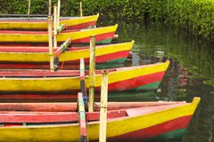Brightly coloured traditional Balinese wooden canoes in a lake w. Brightly coloured traditional Balinese wooden canoes moored in a row on a lake royalty free stock images