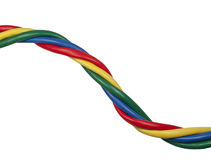 Brightly coloured twisted ethernet network cables. Brightly coloured /colored twisted ethernet network cables isolated on white background Stock Photo
