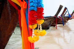 Brightly decorated boats on beaten thailand Stock Photography