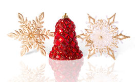 Brightly Finishing Christmas Bell and Golden Snowflakes Royalty Free Stock Photo