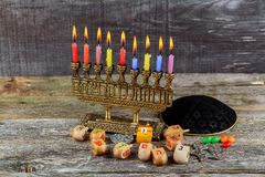 Brightly Glowing Hanukkah Menorah - Shallow Depth of Field. Jewish holiday, Holiday symbol Hanukkah Brightly Glowing Hanukkah Menorah - Shallow Depth of Field Royalty Free Stock Photo