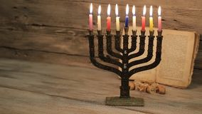 Brightly Glowing Hanukkah Menorah - Shallow Depth of Field. Jewish holiday, Holiday symbol Hanukkah Brightly Glowing Hanukkah Menorah - Shallow Depth of Field stock video