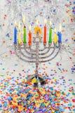 Brightly Glowing Hanukkah Menorah - Shallow Depth of Field. Jewish holiday, Holiday symbol Hanukkah Brightly Glowing Hanukkah Menorah - Shallow Depth of Field Stock Images